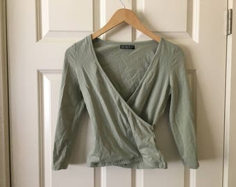 Olive green wrap around blouse