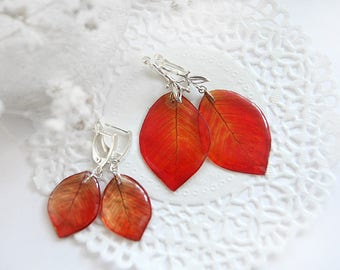 Red earrings Mommy and Me set earrings for Mother daughter gift baby shower gift Leaves earrings Christmas gift for grandma granddaughter