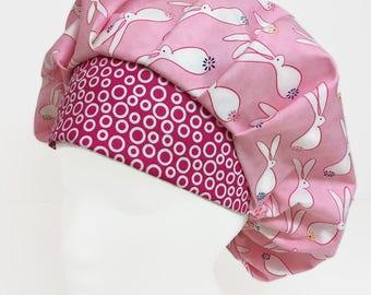 Bunny Hop Bouffant Scrub Hat, Scrub Cap, OR Hats, Scrub Hats for Women, ORHatsByBonita, Surgical Scrub Hat. Surgical Scrub Cap