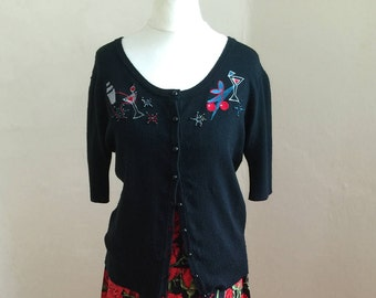 1950's style, Black little Rockabilly cardigan- Second hand. Size 12