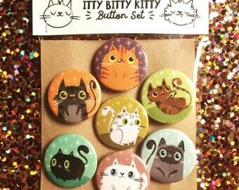 Itty Bitty Kitty Cute Cat Magnet/Button Set | Cat Lover Gift Idea