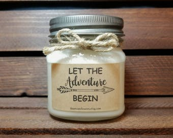 Let the Adventure Begin Soy Candle - Graduation Gift - Congratulation Gift - 8oz Soy Candles Handmade - Wedding Candle - New Job Gift
