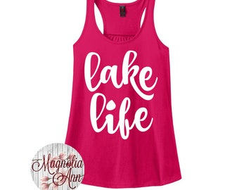 Lake Life, Summer, Women's Racerback Tank Top in 9 Colors in Sizes Small-4X, Plus Size