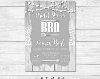 BBQ Bridal Shower Invitation, Lace Bridal Shower Invitation, Rustic Invitation, Gray Bridal Shower, *DIGITAL FILE*