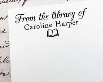 From The Library Of Stamp, Personalized Book Stamp, Custom Teacher Stamp, Ex-Libris Stamp,  Book Name Stamp, Wooden or Self Inking Stamp