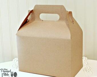 Brown Kraft  Gable Box, 8 Natural Kraft Gable Boxes, Wedding Weekend Box, Wedding Welcome Boxes, Kids Activity Box, Birthday Favor Box, Gift