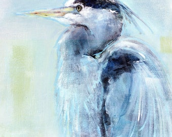 Blue Majesty: A cropped blue heron print from an original blue heron painting, 'Blue Majesty'.