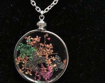 Butterfly Gardens - silver butterflies, orange, green and pink flowers
