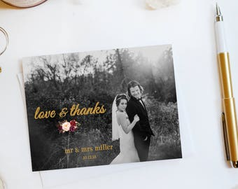 Wedding Thank You Card Custom Photo Wedding Thank You Cards Faux Gold Foil Wedding Thank You Cards Vintage Gold Foil Wedding Cards Floral