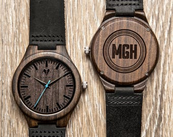 Father's Day Gift, Mens Watch, Personalized Wooden Watch - Engraved Sandalwood Wood Watch