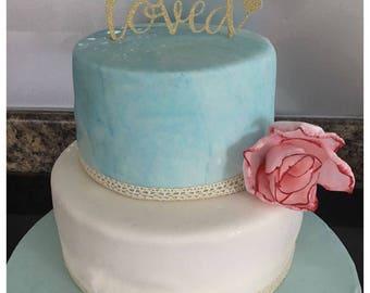 80 Years Loved, Birthday Cake Topper, Glitter Cake Topper, Number Cake Topper, Cake Topper Birthday