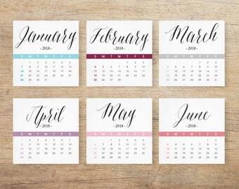 2018 Calendar, Chic Tabletop Calendar, Office Desk Decor, Printable Calendar 2018, Leaflet Calendar, Stylish Fashion, 5x5 INSTANT DOWNLOAD