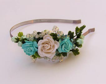Wedding Flower Headbands - Wedding Headbands, Flower Girl Headbands, Wedding Hairpiece, Wedding Crown, Wedding Flower Crown Blue
