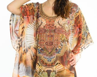 kaftan caftan, plus size dress, beach kaftan digital print kaftan dress embellished caftan dress, sheer beach tunic