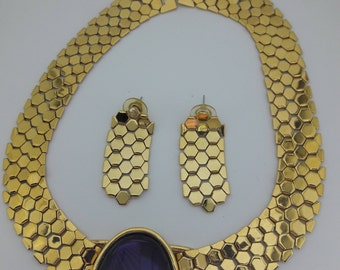 Purple Glass Cabochon Gold Plated Vintage Necklace and Pierced Earrings