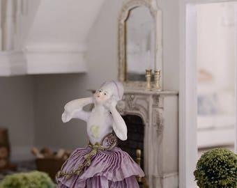 RARE antique French boudoir half doll hand bell