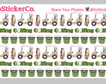 NEW Golf Stickers, Golf Cart Stickers, Tee Time, Golf Balls, Golfing Stickers, Golf Game Stickers, Golf Planner Stickers, Planner Stickers