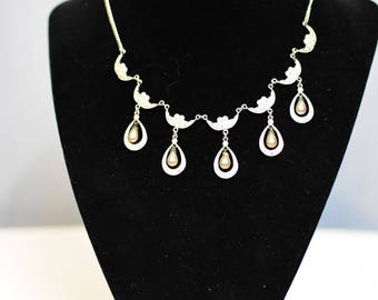 Sterling Silver Teardrop Pearls & Rhinestones Vintage Necklace