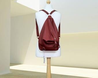 Red Leather backpack purse minimalist Woman leather rucksack Leather Shoulder Bag college knapsack backpack leather bag Women's daily bag