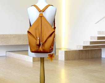 Leather backpack purse minimalist Woman leather rucksack orange Leather Shoulder Bag college knapsack backpack leather bag Women's daily bag