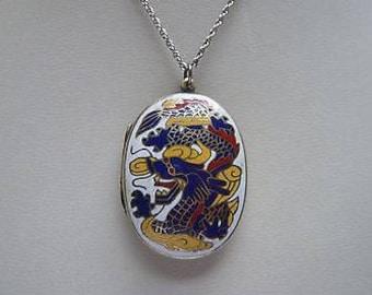 Vintage Enamel Dragon Locket