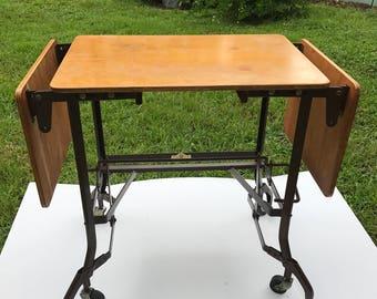 Antique Typewriter Table, Drop Leaf, Wood Typewriter Table,