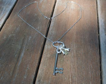 Key necklace skeleton Silver Vintage Key Pendant