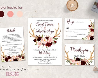 Burgundy Floral Deer Antlers Wedding Invitation Suite Spring Marsala Pink Floral Horns Boho Printable Fall Wedding Invitation Suite - WS028