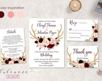 Burgundy Floral Deer Antlers Wedding Invitation Suite Spring Marsala Pink Floral Horns Boho Printable Fall Wedding Invitation Suite - WS028