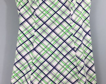 Vintage M&S white green blue check cotton A line mini dress UK 12/14
