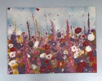 Flowers Blowing in Wind Canvas