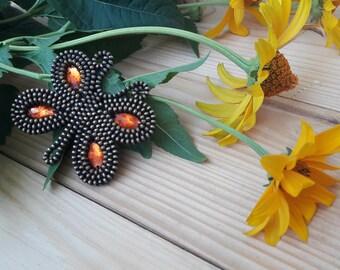 Orange butterfly brooch Recycled brooch Zipper brooch Butterfly jewelry Butterfly gift  Dress brooch Unusual brooch Original brooch
