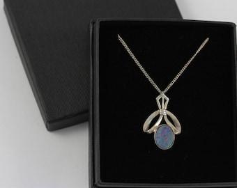 Vintage Black Opal Necklace, Opal Doublet Pendant, Sterling Silver Necklace, Silver Opal Pendant, Art Nouveau Style Pendant