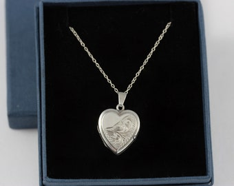 Small Vintage Half Engraved Sterling Silver Heart Locket Necklace in Gift Box