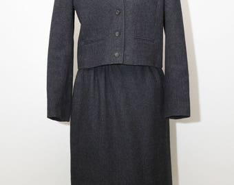 Vintage Pendleton Pendelton 100% Virgin Wool Charcoal Gray Lined Skirt And Jacket Suit Size 8 Skirt Suit