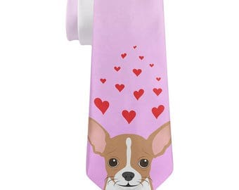 Valentine's Day Chihuahua Love Hearts All Over Neck Tie