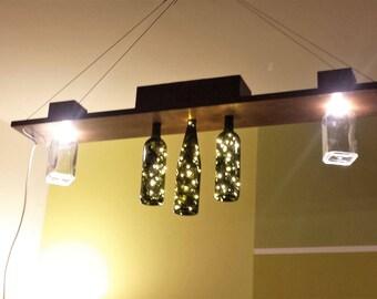 LED design chandelier in Chestnut wood