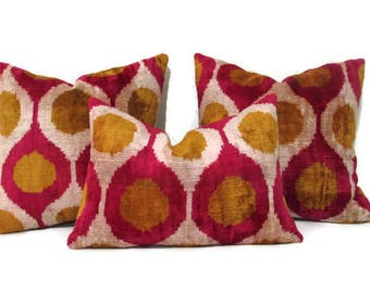 Mustard Ikat Pillow, Red Ikat Pillow, Mustard Ikat Pillow Cover, Red Ikat Decorative Pillow, Mustard Ikat Couch Pillow, Red Ikat Sofa Pillow
