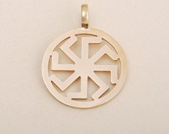 Kolovrat Symbol Pendant Slavic Amulet Bronze or Brass Neclace Pagan Jewelry, a gift for Christmas and New Year