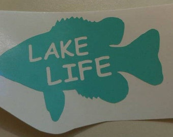 Lake Life Decal - gone fishing -permanent vinyl - perfect for Yeti & Rtic cups, coolers, boats etc. Decal only. Father's day gift idea!
