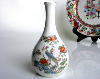 English Bone China Vase / Wedgwood / Bone China Vase / Bud Vase / Kutani Crane / Bone China / England / Gold Rim / Collectible / Vanity Vase