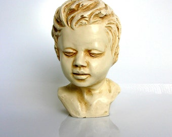 Mid Century / Austin Productions Inc / Young Boy Bust / Sculpture / Portrait Bust / Signed / AP 233 / Greek Style / Roman Style / Durastone