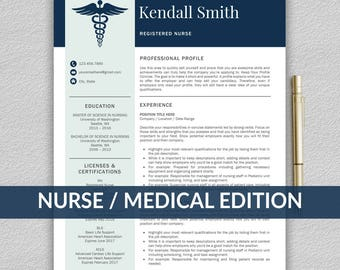Nurse Resume Template For Word / Medical Resume | Nurse CV Template | RN  Resume |  Medical Resume Template