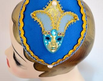 Hat Fascinator Venise Venezia Mask Masque Blue Bleu Millinery Bibi