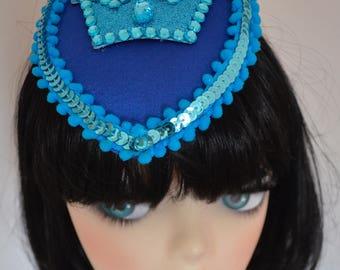 Pillbox Hat Fascinator Crown Couronne Bleu Blue Millinery Bibi