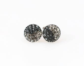 Sterling Silver Pave Radience Stud Earrings, Swarovsky Crystals, Half and Half, Blackdia and Silver Night, Unique Style Stud Earrings.