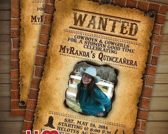 100- Western Wanted Poster Invitations (printed)