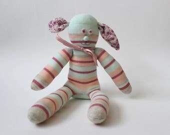 Pheobe the Sock Rabbit | Handmade, Birthday, Token Gift, Baby shower ,Easter rabbit, kids rabbit toy, bunny rabbit toy, peter rabbit, stripy