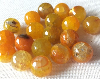 "Large fire agate beads/ yellow agate beads/ yellow fire agate/ fire agate beads/ 12"" strand of agates/ agate beads / gemstone agates"