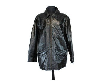 Vintage Leather Jacket, Coat, Black Leather Jacket, Size M, Men's Leather Coat, Black Leather Coat, 90s Jacket Leather, Vintage Leather Coat